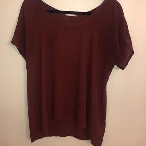 Maroon silk blouse